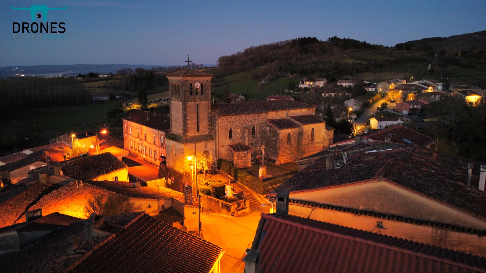 Eglise Escoussens Nuit (1)