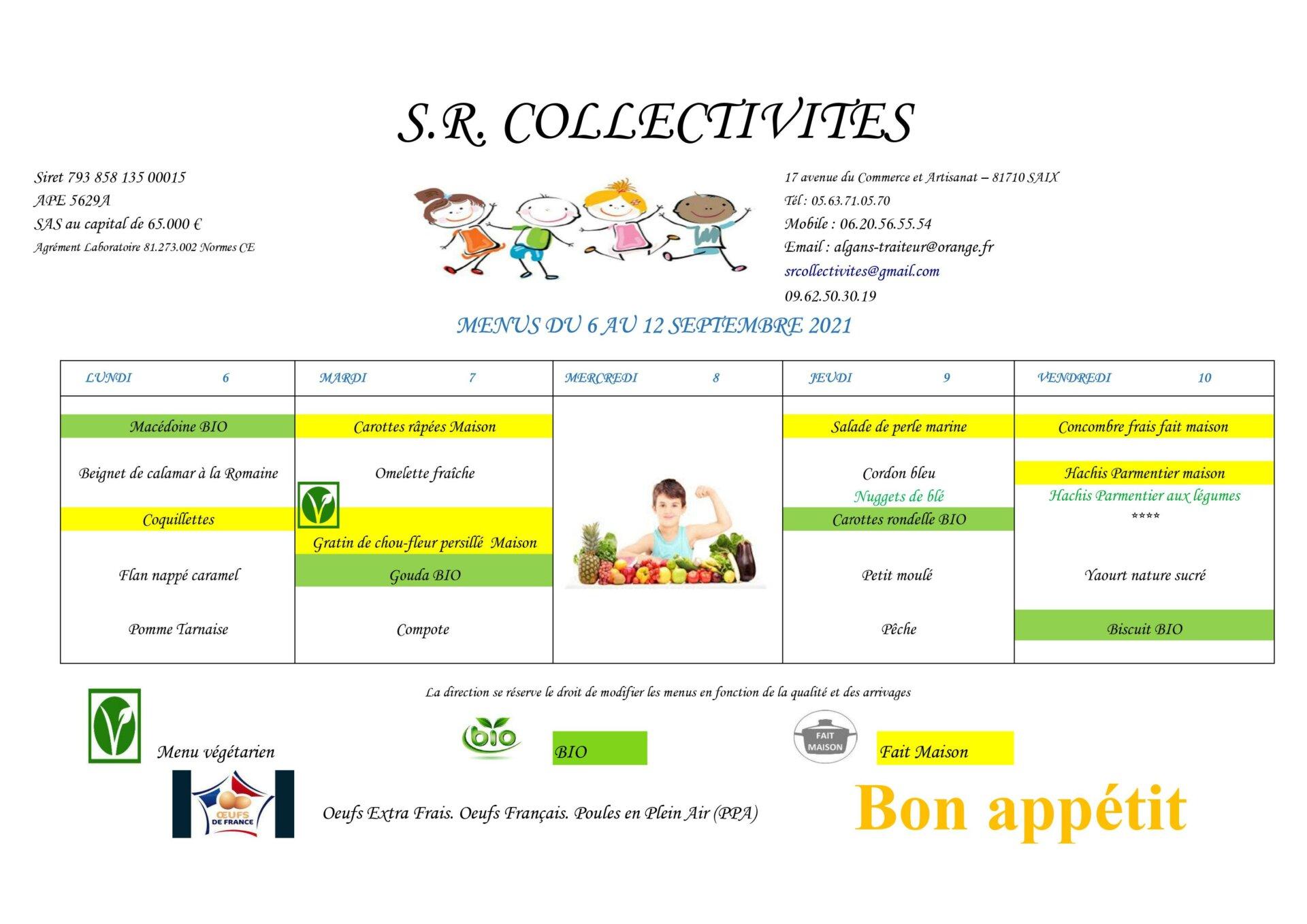 menu du 06 au 12 sept
